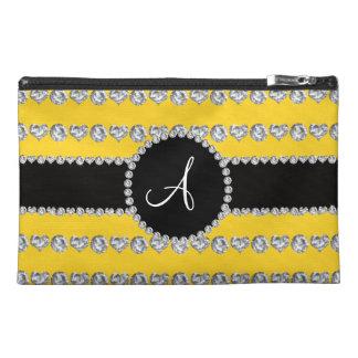 Monogram yellow diamond hearts stripes travel accessory bag