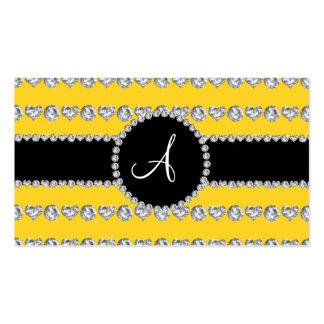 Monogram yellow diamond hearts stripes business cards