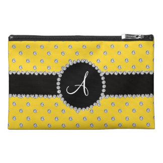 Monogram yellow diamonds polka dots travel accessory bags