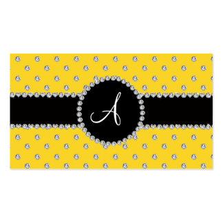 Monogram yellow diamonds polka dots business card template