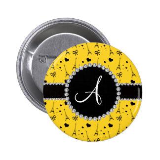 Monogram yellow eiffel tower pattern 2 inch round button