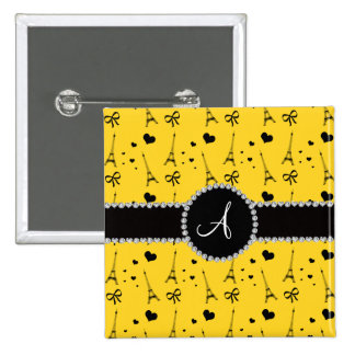 Monogram yellow eiffel tower pattern 2 inch square button