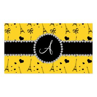 Monogram yellow eiffel tower pattern business card templates