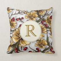 Monogram yellow flowers vintage floral Pillow