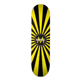 Monogram Yellow Funky Sun Rays Pattern Skateboard Deck