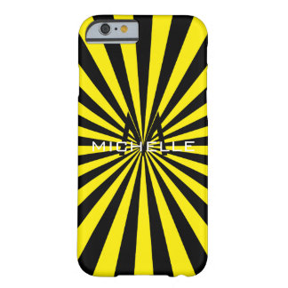 Monogram Yellow Funky Sun Rays Retro Stripes Barely There iPhone 6 Case