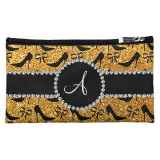 Monogram yellow glitter black high heels bow cosmetic bag