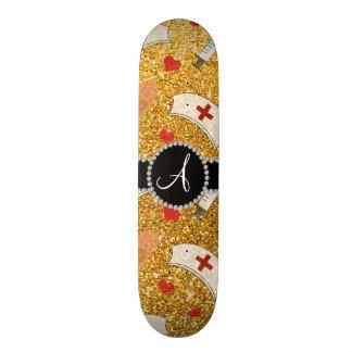 Monogram yellow glitter nurse hats heart skate board deck