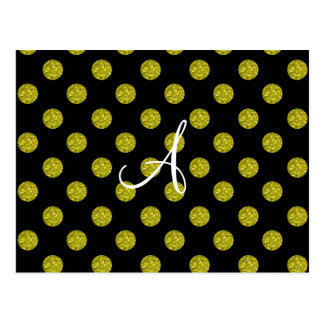 Monogram yellow glitter polka dots postcard