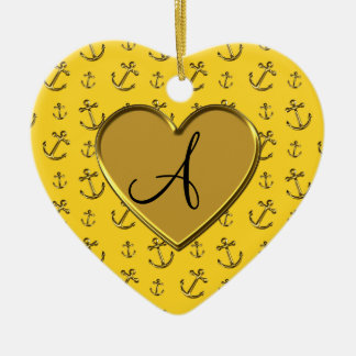 Monogram yellow gold anchors heart Double-Sided heart ceramic christmas ornament