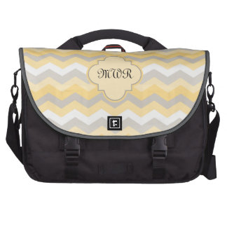 Monogram Yellow/Gray Chevron Laptop Messenger Bag