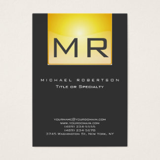 Monogram Yellow Gray Clean Business Card