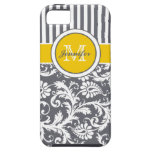 Monogram Yellow Gray White Striped Damask iPhone 5 Case