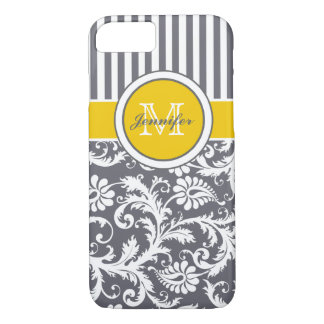 Monogram Yellow Gray White Striped Damask iPhone 8/7 Case