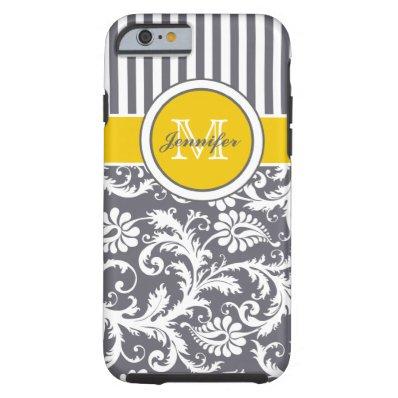 Monogram Yellow Gray White Striped Damask Tough iPhone 6 Case