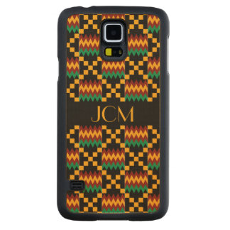 Monogram Yellow, Green, Red, Black Kente Cloth Carved Maple Galaxy S5 Case
