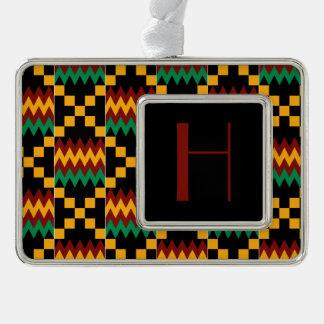 Monogram Yellow, Green, Red, Black Kente Cloth Christmas Ornament