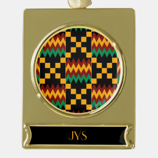 Monogram Yellow, Green, Red, Black Kente Cloth Gold Plated Banner Ornament