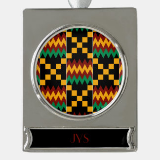 Monogram Yellow, Green, Red, Black Kente Cloth Silver Plated Banner Ornament