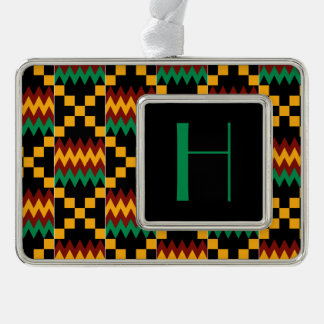 Monogram Yellow, Green, Red, Black Kente Cloth Silver Plated Framed Ornament