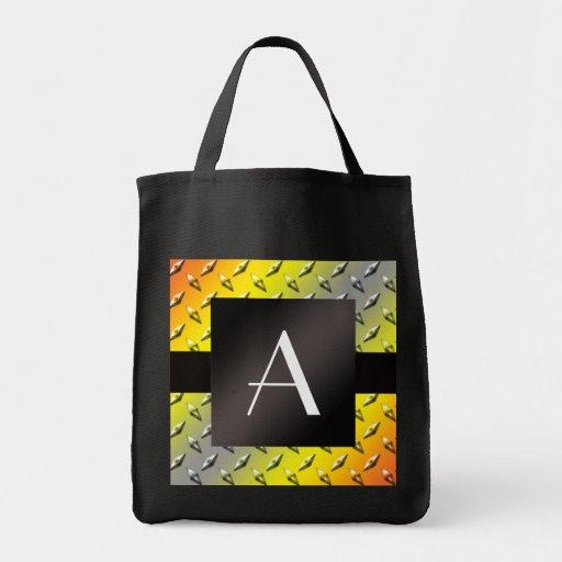 Monogram Yellow, grey and orange diamond steel Tote Bags