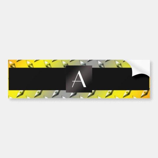 Monogram Yellow, grey and orange diamond steel Car Bumper Sticker