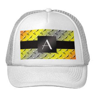 Monogram Yellow, grey and orange diamond steel Mesh Hat