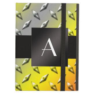 Monogram Yellow, grey and orange diamond steel iPad Air Case