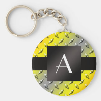 Monogram Yellow, grey and orange diamond steel Basic Round Button Keychain