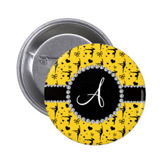 Monogram yellow gymnastics hearts bows button