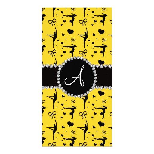 Monogram yellow gymnastics hearts bows photo card