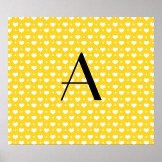 Monogram yellow hearts polka dots poster