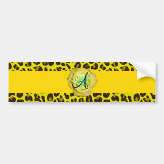 Monogram yellow leopard bumper stickers
