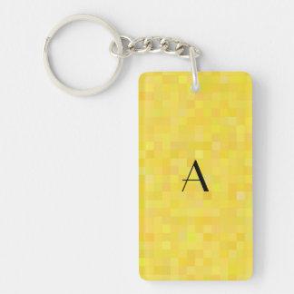 Monogram yellow mosaic squares Single-Sided rectangular acrylic keychain