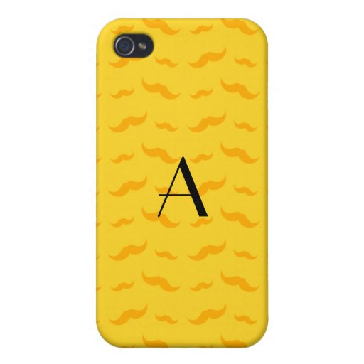 Monogram yellow mustache pattern covers for iPhone 4