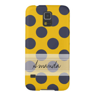 Monogram Yellow Navy Blue Chic Polka Dot Pattern Galaxy S5 Cover