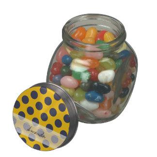 Monogram Yellow Navy Blue Chic Polka Dot Pattern Glass Jars