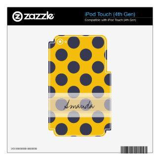 Monogram Yellow Navy Blue Chic Polka Dot Pattern iPod Touch 4G Skin