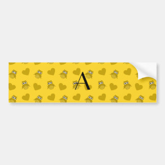 Monogram yellow owls and hearts bumper sticker
