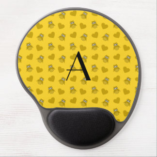 Monogram yellow owls and hearts gel mouse pads