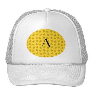 Monogram yellow owls and hearts trucker hat