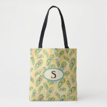 Monogram Yellow Peacock Blue Pattern Reusable Tote Bag
