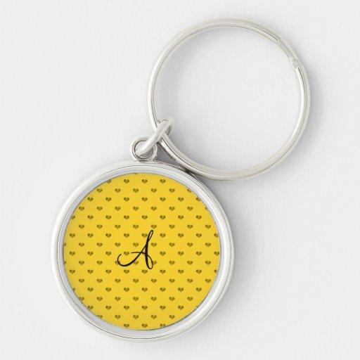 Monogram yellow polka dot hearts key chain