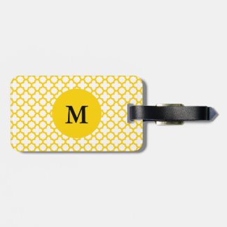 Monogram Yellow Quatrefoil Pattern Luggage Tag