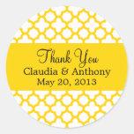Monogram Yellow Quatrefoil Pattern Thank You Round Sticker