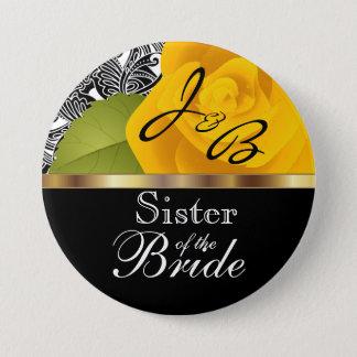 Monogram Yellow Rose Wedding Party Design Button
