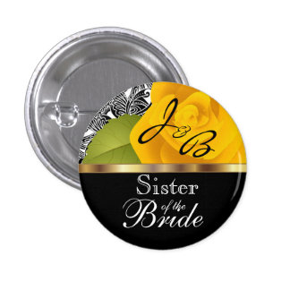 Monogram Yellow Rose Wedding Party Design Button