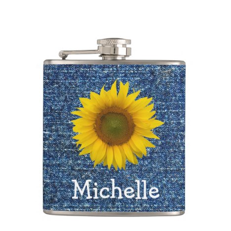 Monogram Yellow Sunflower Denim Look Flask