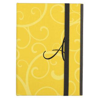 Monogram yellow swirls case for iPad air