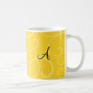 Monogram yellow swirls coffee mug